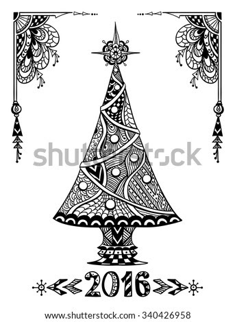Christmas Tree in Zen-doodle style black on white coloring ...