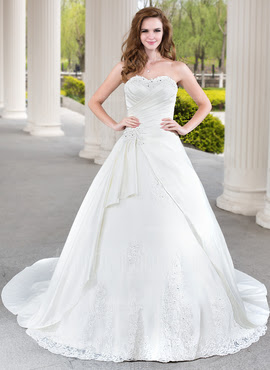 Ball-Gown Sweetheart Chapel Train Satin Tulle Wedding Dress With Lace Beading Cascading Ruffles (002000471)