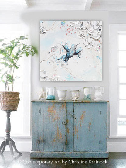 Giclee Canvas Print Art Abstract Hummingbird Painting Blue White Decor Contemporary Art By Christine