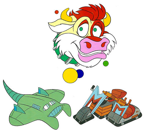 (TMNT Spinoff) ..Mutanimals The Animated Series! - Cudley the Cowlick,Mutanicycle, &  Sea Ray  ..[[Courtesy of Ryan Brown]] ((1992))