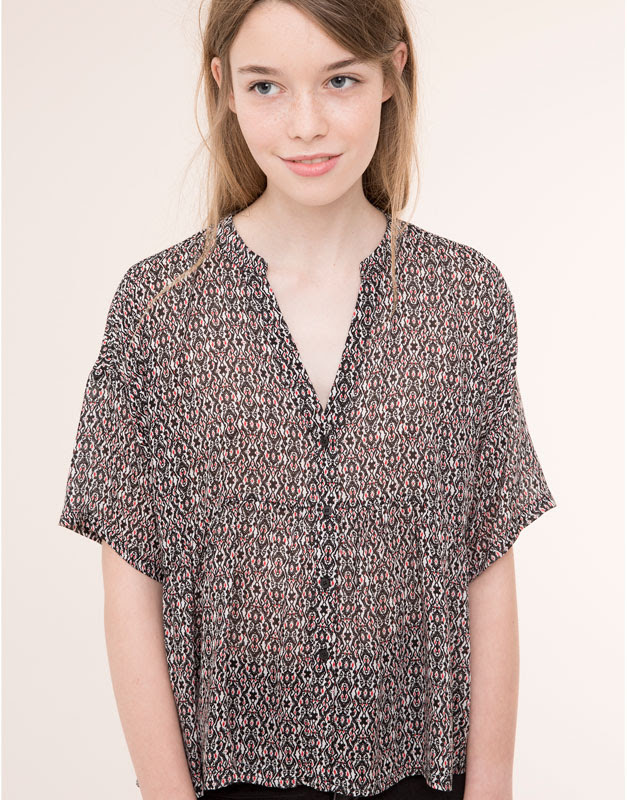 Pull&Bear - mujer - blusas y camisas - camisa cuello mao estampado tribal - negro - 09471380-I2015