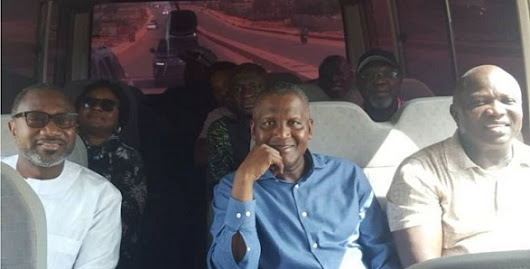 Femi Otedola enjoys bus ride with Governor Ambode and Aliko Dangote (Video)