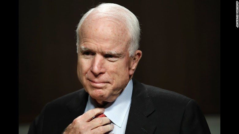 Senate Armed Services Committee Chairman Sen. John McCain, R-Arizona, listens during the confirmation hearing on July 11, 2017, for Navy secretary nominee Richard Spencer on Capitol Hill.