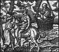 An illustration of the drama titled The Clouds by Aristophanes, from a 16th century engraving. Picture shows Strepsiades, his son Phidippides, and Socrates