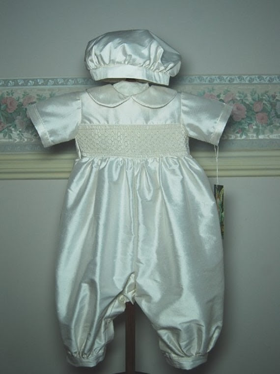Antony - A Boy's Christening Romper created in silk with smocking in white thread