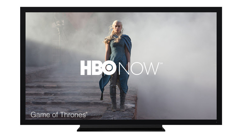 An image of HBO Now streaming to a TV