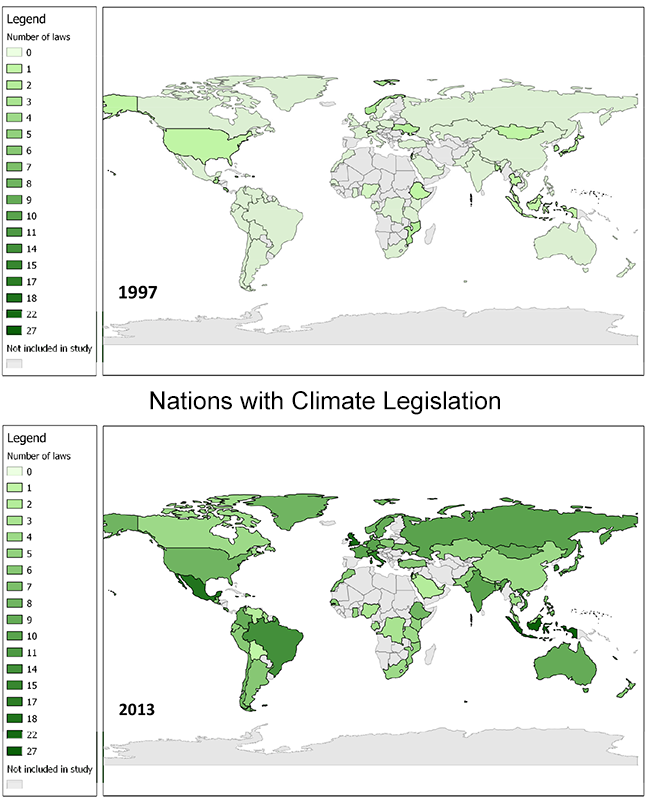 Laws attempting to reduce greenhouse gas emissions have proliferated since 1997, when the Kyoto Protocol was created. (Credit: Globe International) Click to enlarge.