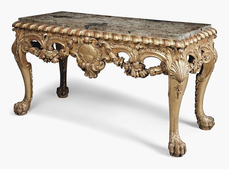 an english giltwood side table of george
