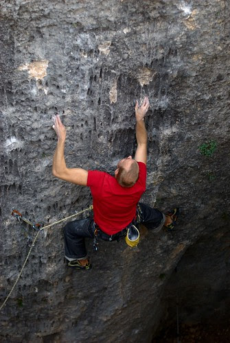 Happily failing on a bouldery 6c