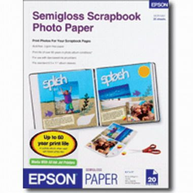Epson Scr1001 Semigloss Scrapbook Photo Paper 85 X 11 Inches 20