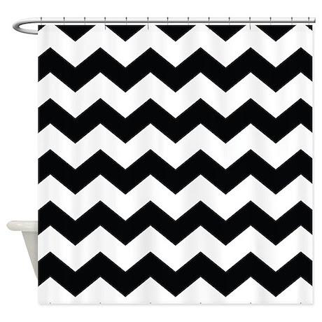 Chevron Classy Black and White Shower Curtain