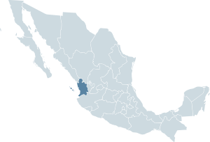 Locator map for the state of Nayarit within Me...