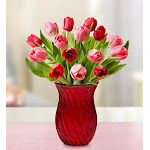 Flower Delivery by 1-800 Flowers Sweetest Love Tulips 15 Stems with Red Vase Flowers, Small