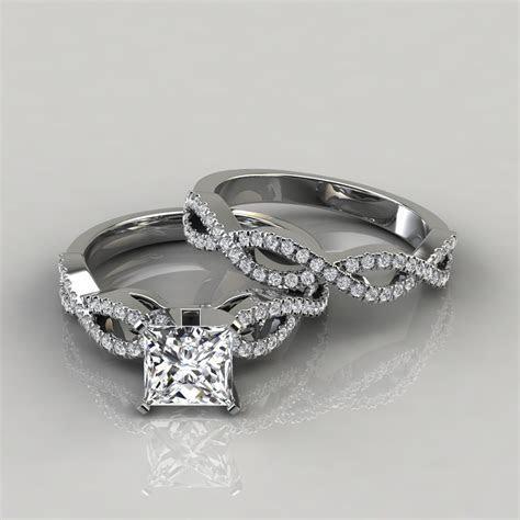 Infinity Design Princess Cut Bridal Set Rings   Forever