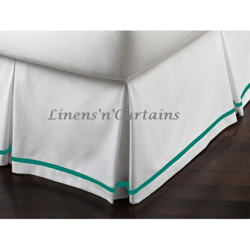 TEAL Trim WHITE Box Pleat Bed Skirt Cotton by DecorWithShams