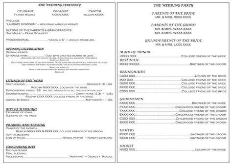 catholic wedding program   Catholic wedding program