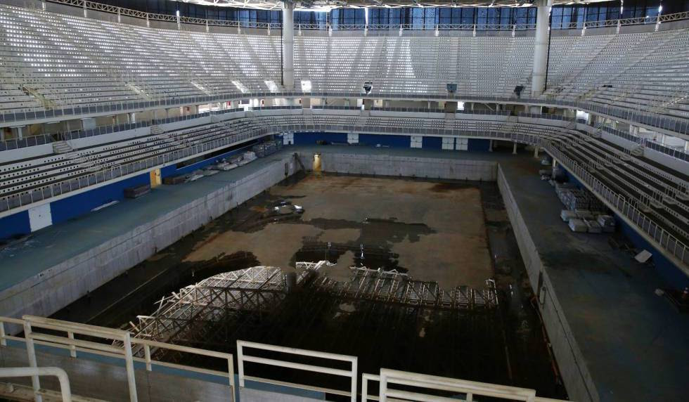 The pool at the Olympic Aquatics Stadium in Rio.