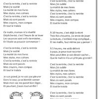 Chants Pour La Rentree Capuchon A L Ecole