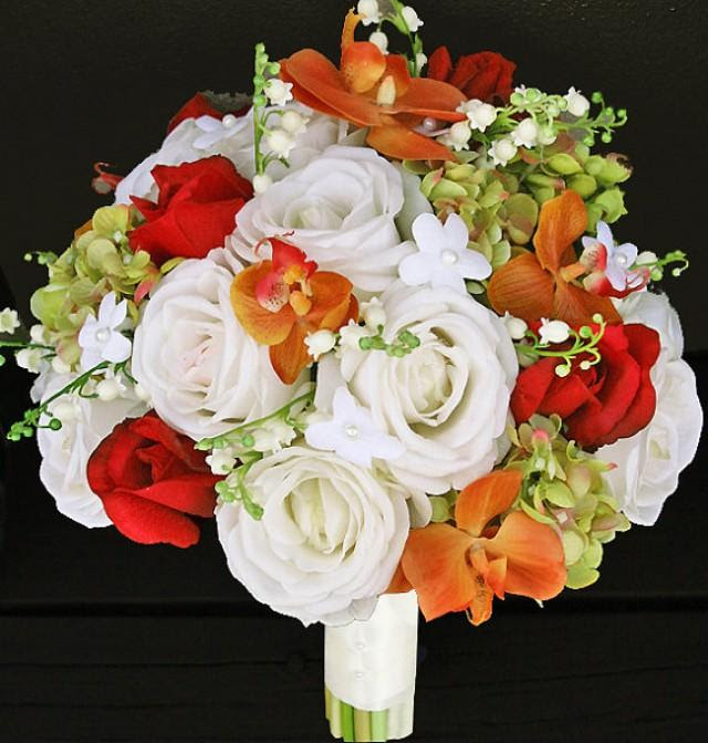 Fall Wedding Off White Orange And Red Roses And Orchids Silk Flower Bride Bouquet  Almost Fresh