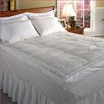 """233 TC Cotton Cover 5"""" Down Pillow Top Featherbed White Full - Queen White"""