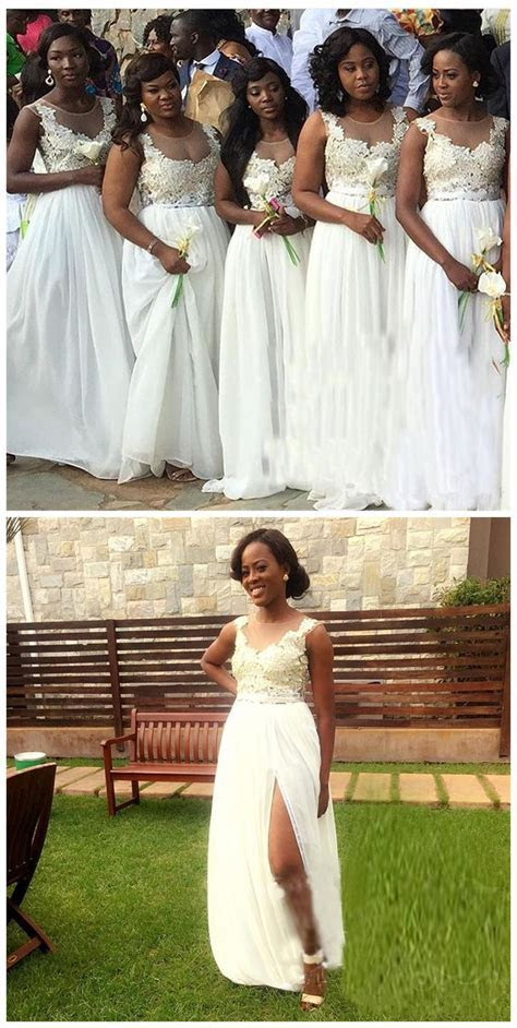 White Bridesmaid Dresses For South African Black Girls New