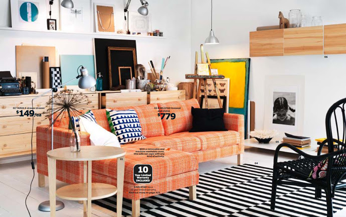 Fancy-Orange-Fabric-Sofa-and- ...