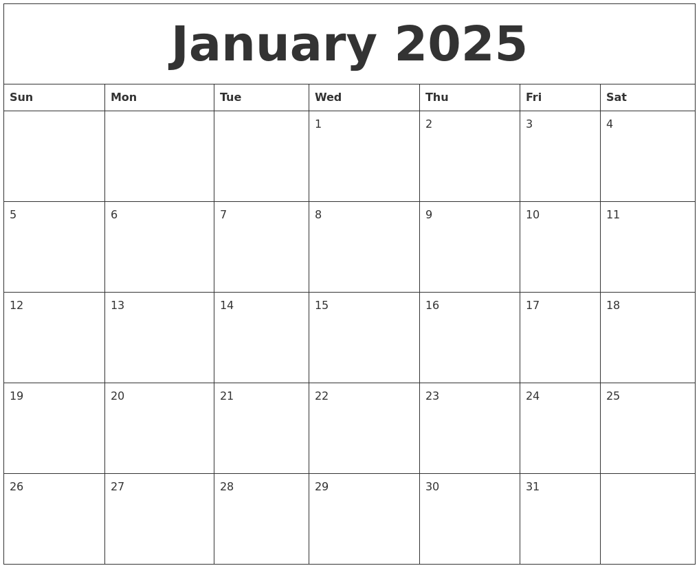 january 2025 print blank calendar