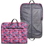 Zodaca Foldable Multipurpose Garment Hanging Zipper Bag Travel Tote Carry Bag - Pink Green Paisley