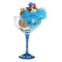 Hiccup by H2Z 9-1/4-Inch Long Island Iced Tabby Cocktail Glass with Orange Tabby Cat