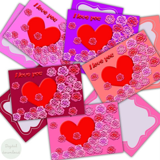 I love you Instant download Digital Valentines cards Heart
