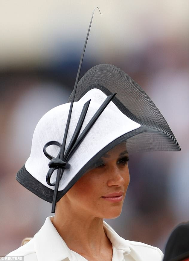 The outfit was set off by a sizeable monochrome creation by hat designer Philip Treacy, a favourite among the royals