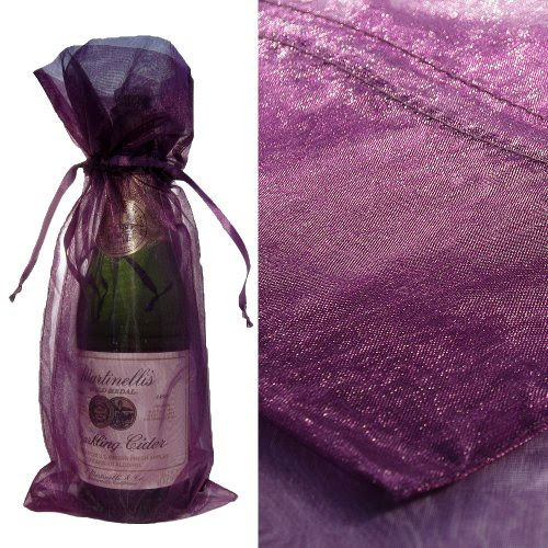 Purple Organza Wine Bottle Favor Gift Bags (Set of 10)