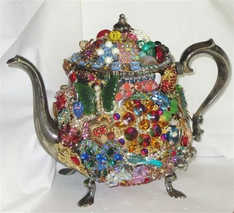 VINTAGE Silver plated TEAPOT Vintage RHINESTONE Flower