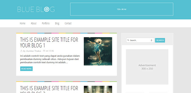 blue blog blogger template