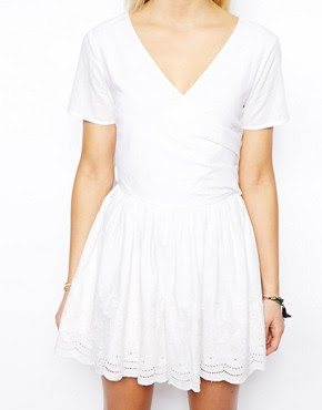 Image 3 ofASOS PETITE Exclusive Wrap Front Playsuit with Embroidered Short