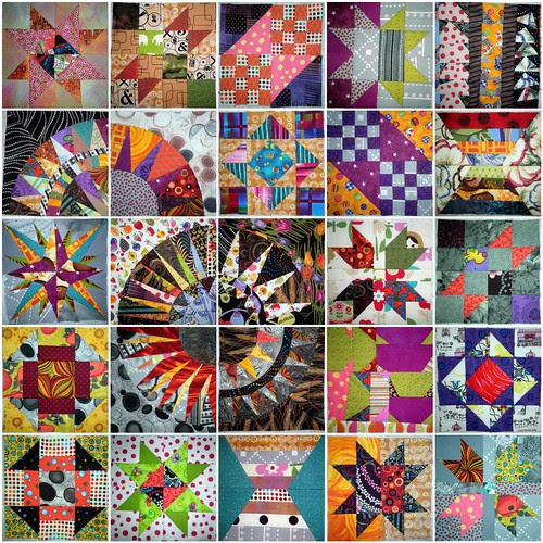 25 blocks so far!  Quilters BOM, New York Beauty Quilt Along, Mariner's Compass Experiments, and Crumb Along!