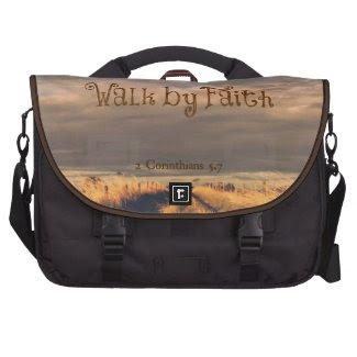 Walk by Faith Bible Verse Scripture Laptop Bags