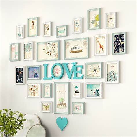 romantic heart shaped photo frame wall decoration pieces