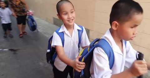 Rớt nước mắt thương 45 bé mù bám nhau đi học được các sơ đùm bọc