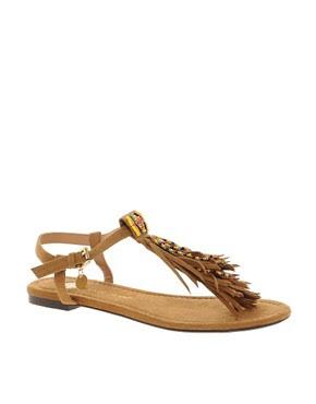 Image 1 ofRiver Island Beaded Fringed Sandals