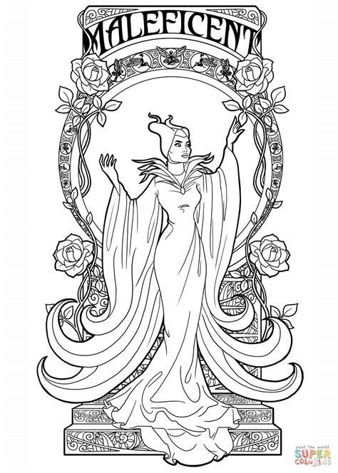 art nouveau maleficent coloring page  printable
