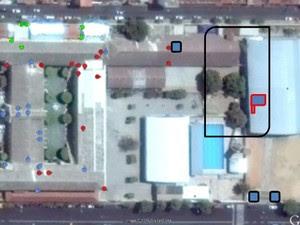 A área marcada em preto é considerada pela polícia como área de execução do crime (Foto: Divulgação/Polícia Civil)