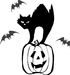 Halloween Cat Black And White Clipart