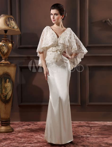 Elegant Ivory Lace V Neck Sexy Evening Dress Wedding Guest