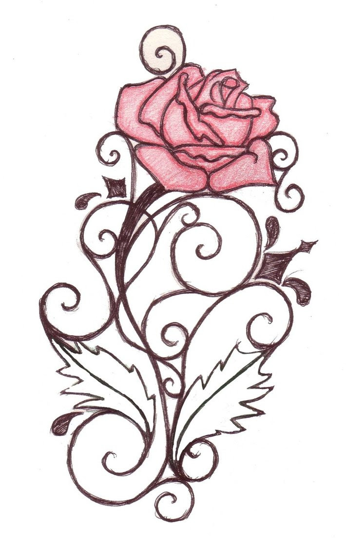 Rose Vine Drawing At Getdrawingscom Free For Personal Use Rose