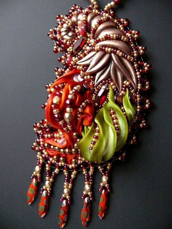 Bead embroidered Pendant CORNUCOPIA Horn of Plenty by Maewa