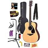 Yamaha FG700S Folk Acoustic Guitar Bundle with Hard Case, Strap, Stand, Polish, Tuner, Strings, Picks, Capo, String...