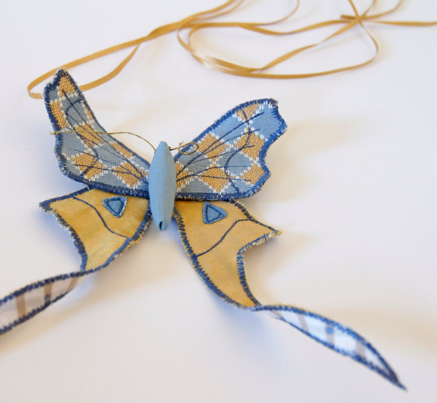Fabric Moth Brooch / Tailed Saturniid / Upholstery Fabric and Satin / Light Blue and gold
