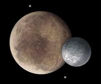 Pluton, Charon, Nix et Hydra (vue d'artiste)