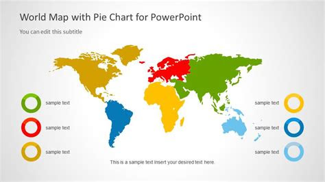 world map template  pie charts  powerpoint slidemodel